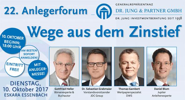 22. Anlegerforum 2017: Wege aus dem Zinstief